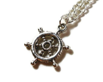 Ship Wheel Necklace, Rudder Necklace, Nautical Jewelry, Silver Charm Necklace, Metal Pendant Necklace, Women and Teen Jewelry, Gift Idea