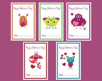 Instant Download Valentine's Day Monsters with Hearts Cards for Kids, Classrooms, and Friends
