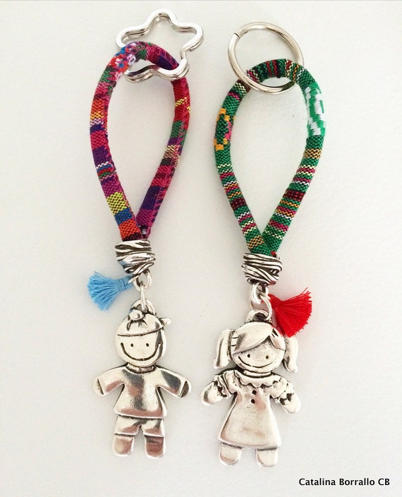 Children keyrings in Zamak silver 925 and ethnic cord
