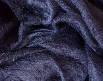 Price for 2 meters, Pure 100% Silk margilan (made in Uzbekistan) for nunofelting, gauze silk, width 88 cm. Colour: Graphite