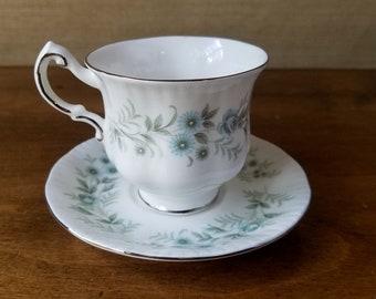 Paragon Debutante Tea Cup and Saucer, Vintage Bone China Teacup Set, Blue Green Floral, Tea Party Wedding Shower Gift