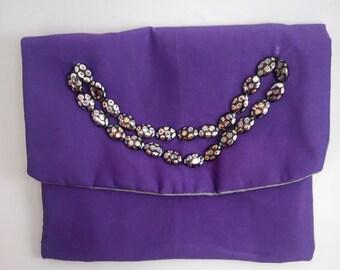 Purple Clutch - Purple and Gray Bag - Purple Cloth Bag - Small Envelope Purse - Purple Handbag - Small Purple Clutch