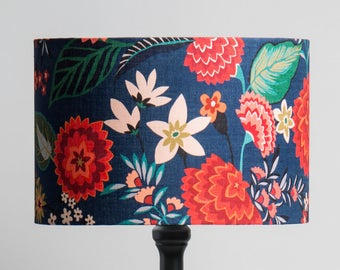 Large Carnation Floral Linen Lampshade / Blue Red Floral / Brie Harrison / Botanical Lampshade / Colourful Fabric Lampshade / Josef Frank