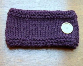 Chunky Knit Cowl, Hand Knitted, Rowan, Merino Wool, Purple, Oversized Button, wooden button, made in Scotland