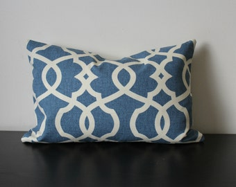 Decorative Throw Pillow, Blue Lumbar Pillow,12x16,12 x18, Lumbar Pillow, Blue Pillow Cover,Toss Pillow, Accent Pillow, Sofa Pillow