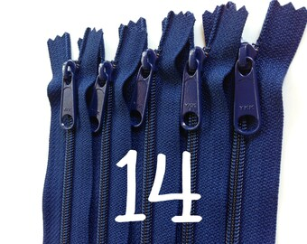 14 inch YKK handbag zippers with long pull, navy, FIVE pcs, 4.5 mm coil, YKK color 919, great for handbags, gadget cases, bags