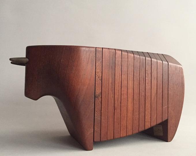 Danish Ernst Henriksen Teak Bull Coaster Set Denmark