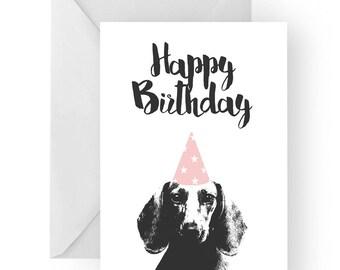 Dachshund blank birthday card- dachshund greeting card, dog card, sausage dog birthday card, cute dog birthday card, Birthday card