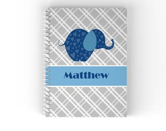 Elephant Personalized Notebook - Elephant Blue Grey Diagonal Stripes with Name, Customized Spiral Notebook Back to School
