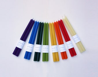 Hexagonal Candles, Beeswax Candles, Hex Candles, Hexagonal Tapers, Taper Candles, Custom Colors, Customized Candles