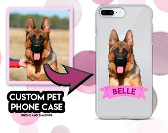 Custom pet phone case personalised dog custom iphone samsung case, customized dog picture
