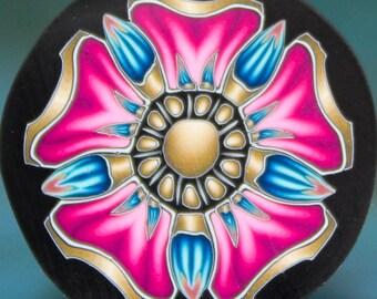 MEDIUM Bright Pink Polymer Clay Flower Cane (19aa)