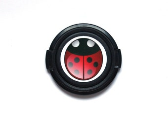 Lady bug camera lens cap for Canon, Nikon, Fuji, Sony etc. DSLR, Photography gift, photographers gift. Free shipping in North America.