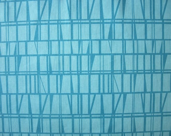 Curtain panel turquoise blue lines checkered Scandinavian Modern decor , table runner , napkins , pillow , curtain available, great GIFT