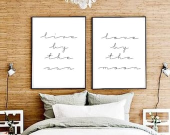 11x14 set of two live by the sun love by the moon typographic print drawing wall