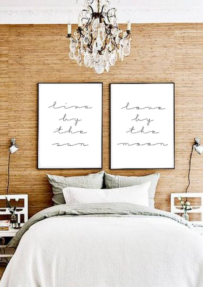 11x14 set of two live by the sun love by the moon Typographic