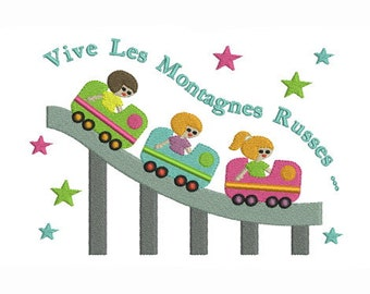 Embroidery design machine Russian mountains fun fair with little children instant download