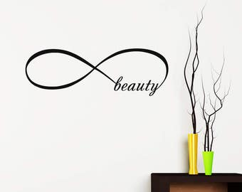 Infinity Symbol Wall Decals Beauty Infinity Loop Vinyl Lettering Decal Bedroom Home Decor For Beauty Salon Shop Window V965