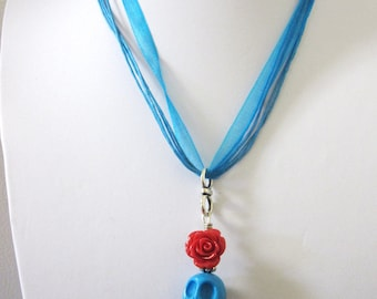 Day Of The Dead Necklace Sugar Skull Jewelry Red Rose Blue