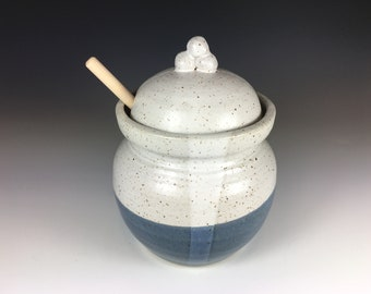 Pottery Honey Jar with Dipper, Stoneware, Speckled Satin Grey, White, and Indigo Blue
