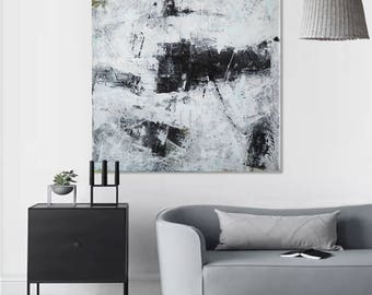 Black White Abstract Art Black White Painting Large Abstract Painting On  Canvas Extra Large Painting Original