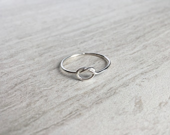 Silver Knot Ultra Thin Ring, Simple Handmade Knot Ring, Promise Ring, Dainty Stacking Ring, Thin Silver Ring