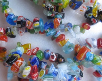 SALE - Millefiori Chip Glass Beads Multi Color Chip Nugget 4-8mm 20 Beads