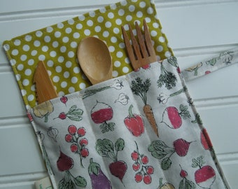 Reusable bamboo cutlery and roll up carrying pouch  - Picnic cutlery roll - Flatware pouch - Bamboo cutlery - Home grown veggies