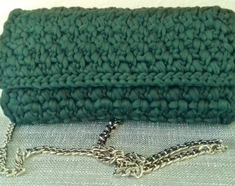 crochet handbag,evening, modern emerald colour, t-shirt