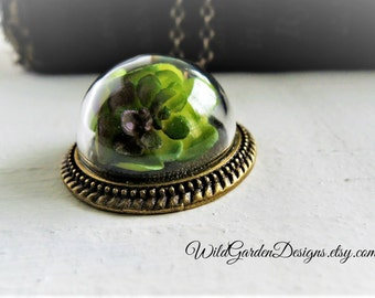 Succulent Terrarium Necklace Glass Cloche Dome Pendant Miniature Garden Jewelry Botanical Nature Inspired Foliage Leaves Garden Gift for Her