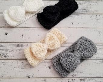 Bow Ear Warmer, Bow Headband, Crochet Bow Head Wrap, Bow Headband, Bow Ear Warmers, Child, Toddler, Baby, Ear Warmers for Girls MADE 2 ORDER