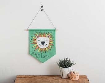 Sleepy Lion Flag, Jungle nursery, Retro Pennant Flag, Gender neutral room, Children's wall art, Boy's room Decor, Nursery Art, Banner