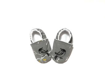 Soft Sole Baby Shoes, Gray baby Shoes, Girl Baby Shoes, Boy Baby Shoes, Vegan Baby Shoes, Baby Booties,
