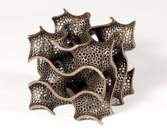 The Gyroid Sculpture -- elegant math geometry art in 3D printed steel, bronze finish