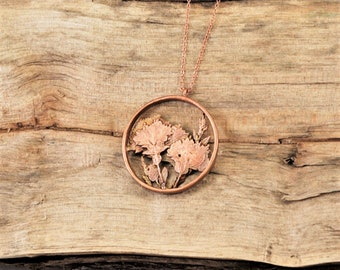 Electroformed Real Pressed Flowers Copper Necklace K21