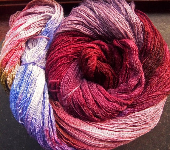 Merino Silk Cashmere Lace Cob-web 2ply Yarn Hand Dyed Elvincraft Painted Late Autumn