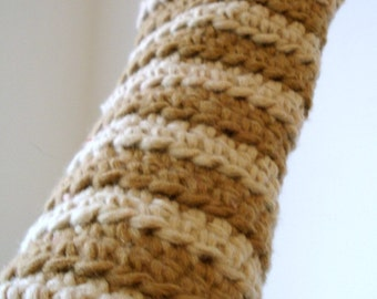 Tan and Brown Striped Crocheted Arm Warmers (size M-L, wool content) (SWG-AW-MW01)