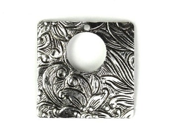 Ornate Square Stampings Charms 20mm Silver Ox (4) CP066