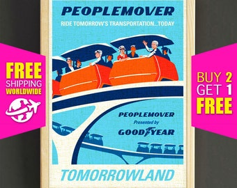 Disney Poster, Disneyland Vintage, Peoplemover, Disneyland Print, Tomorrowland, Disney Art, Fantasyland, Nurser Wall Art, Home Decor -364