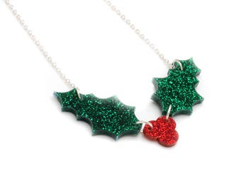 Acrylic Holly Leaf Necklace - Laser Cut Christmas Holly Necklace - Glitter Perspex Holly and Berries Necklace - Christmas Statement Necklace