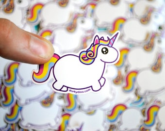 Chubby Unicorn Sticker: Fat Rainbow Pony Weatherproof Vinyl Stickers, Colorful Funny Mythical Creature, Kawaii Cute Uni, Kawaii Collection
