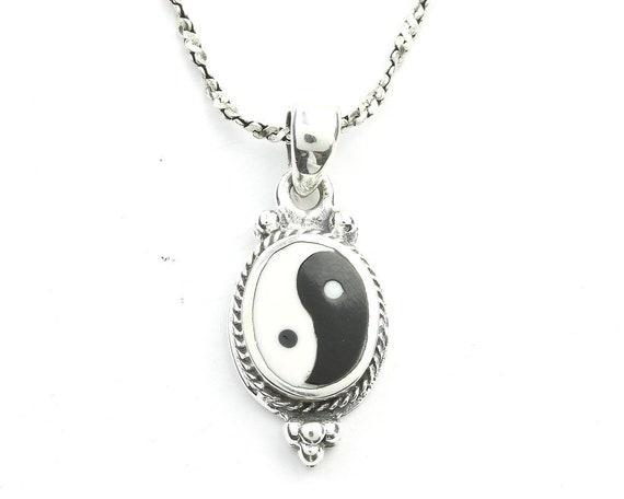 Sterling Silver Yin Yang Necklace, Balance, Yoga Jewelry, Meditation, Spiritual, Boho, Gypsy, Festival, Hippie