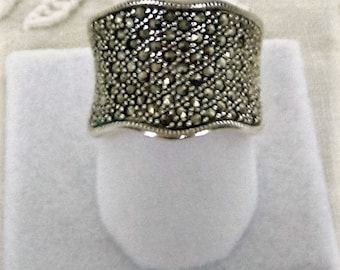 STERLING SILVER Marcasite RING Designer Jewelry Vintage Fine Jewelry Gift