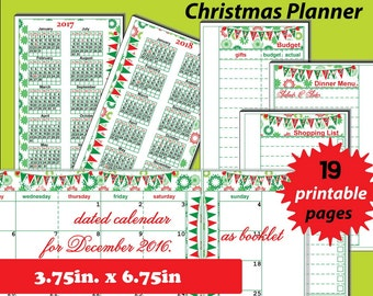 Christmas Planner Personal size inserts, Christmas Planner 2017, Christmas Planner Kit Printable, holiday planner, Christmas Organizer -PDF