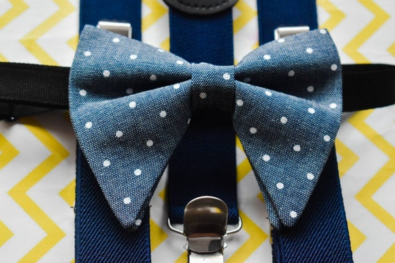 Denim grey polka dot butterfly / poppy Bow Tie  for Baby, Toddler and Boys (Kids Bow Ties) with Braces / Suspenders for wedding, birthday