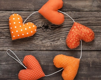 Heart garland / wall hangings / kids room decor / Nursery garland / stuffed orange hearts / decoration hearts / 5 hearts