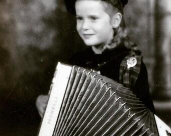 Accordion Playing Little Girl Irish Kilt Costume 1930s Vintage Photo