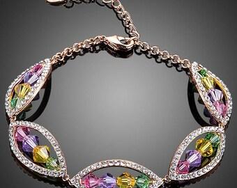 Valentines Day Gift, Bracelets, Women Bracelet, Matching Bracelets, Girl Bracelet, Budding Flower Crystal Bracelet