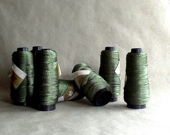 Vintage Italian Viscose | Green Viscosa Trim | Sewing Notion| 1 Spool | Made in Italy | Filatura Di Crosa | Rayon Yarn