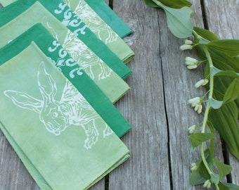 fresh greens napkins. rabbits and finials. set of six